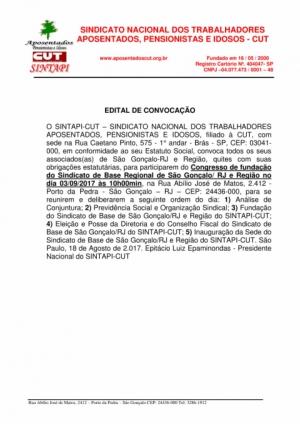 Edital de Convocação São Gonçalo/RJ e Região