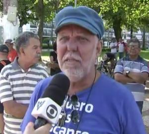 Luiz Augusto, Secretário de Organização do SINTAPI-CUT, participa de protesto no 1 de Maio
