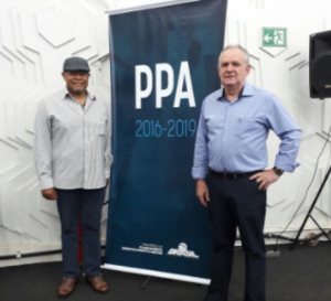9/11/2017 - Luizão e Gerson, do Sintapi-CUT, participam do Fórum Interconselhos, em Brasília